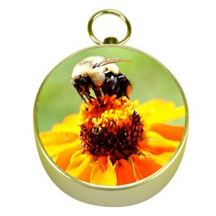 Bee On A Flower Gold Compass