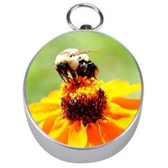 Bee On A Flower Silver Compass