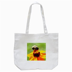 Bee on a Flower Tote Bag (White)