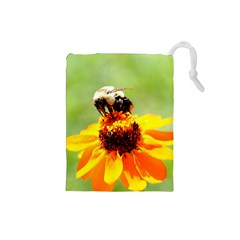 Bee on a Flower Drawstring Pouch (Small)