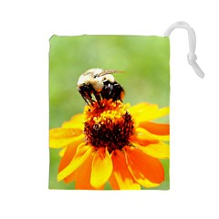 Bee on a Flower Drawstring Pouch (Large)