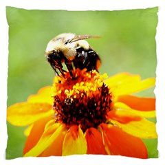 Bee on a Flower Large Flano Cushion Case (One Side)