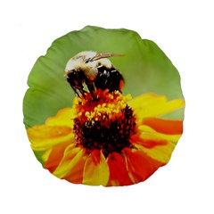 Bee on a Flower 15  Premium Flano Round Cushion