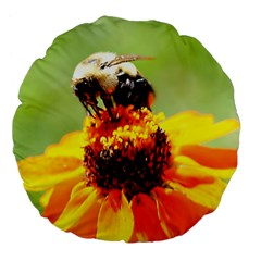 Bee On A Flower 18  Premium Flano Round Cushion