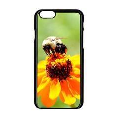 Bee On A Flower Apple Iphone 6 Black Enamel Case