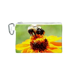 Bee on a Flower Canvas Cosmetic Bag (Small)