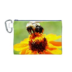 Bee on a Flower Canvas Cosmetic Bag (Medium)
