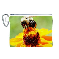 Bee on a Flower Canvas Cosmetic Bag (Large)