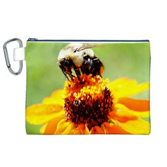 Bee on a Flower Canvas Cosmetic Bag (XL)