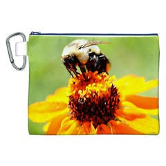Bee on a Flower Canvas Cosmetic Bag (XXL)
