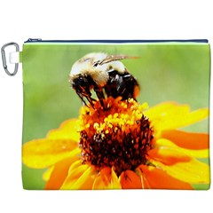 Bee on a Flower Canvas Cosmetic Bag (XXXL)