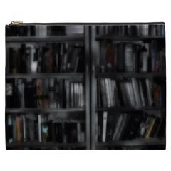 Black White Book Shelves Cosmetic Bag (XXXL)