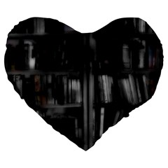 Black White Book Shelves 19  Premium Heart Shape Cushion