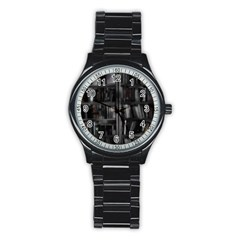 Black White Book Shelves Sport Metal Watch (black)