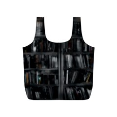 Black White Book Shelves Reusable Bag (S)