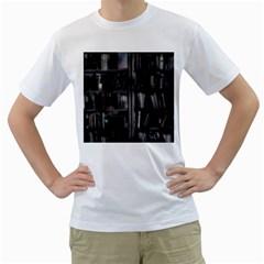Black White Book Shelves Men s T-Shirt (White)