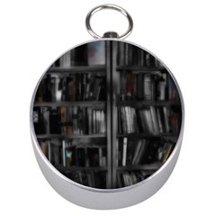 Black White Book Shelves Silver Compass
