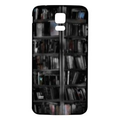 Black White Book Shelves Samsung Galaxy S5 Back Case (White)