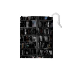 Black White Book Shelves Drawstring Pouch (Small)