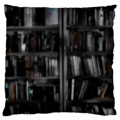 Black White Book Shelves Standard Flano Cushion Case (Two Sides)