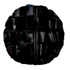 Black White Book Shelves 18  Premium Flano Round Cushion