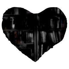 Black White Book Shelves 19  Premium Flano Heart Shape Cushion