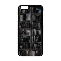 Black White Book Shelves Apple iPhone 6 Black Enamel Case