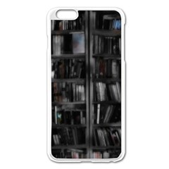 Black White Book Shelves Apple Iphone 6 Plus Enamel White Case