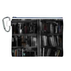 Black White Book Shelves Canvas Cosmetic Bag (Large)