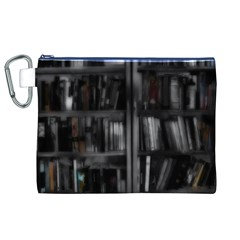Black White Book Shelves Canvas Cosmetic Bag (XL)