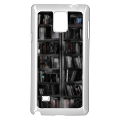 Black White Book Shelves Samsung Galaxy Note 4 Case (White)
