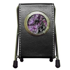 Lilacs Fade To Black And White Stationery Holder Clock