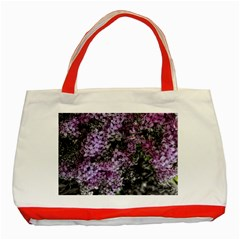 Lilacs Fade to Black and White Classic Tote Bag (Red)