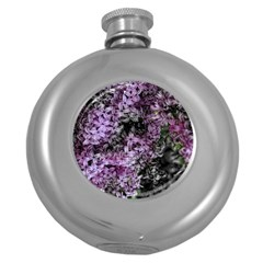 Lilacs Fade To Black And White Hip Flask (round)