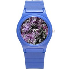 Lilacs Fade To Black And White Plastic Sport Watch (small)