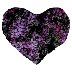 Lilacs Fade To Black And White 19  Premium Heart Shape Cushion