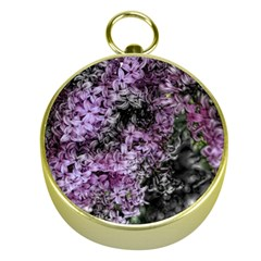 Lilacs Fade to Black and White Gold Compass