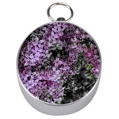 Lilacs Fade to Black and White Silver Compass