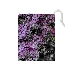 Lilacs Fade to Black and White Drawstring Pouch (Medium)