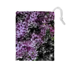 Lilacs Fade to Black and White Drawstring Pouch (Large)