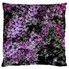 Lilacs Fade To Black And White Large Flano Cushion Case (one Side)