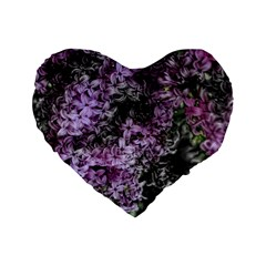 Lilacs Fade to Black and White 16  Premium Flano Heart Shape Cushion