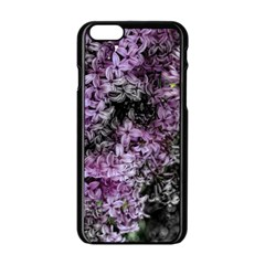 Lilacs Fade to Black and White Apple iPhone 6 Black Enamel Case
