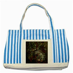 Courbet Bouquet Of Flowers In Vase Blue Striped Tote Bag