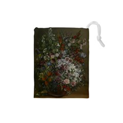 Courbet Bouquet Of Flowers In Vase Drawstring Pouch (Small)