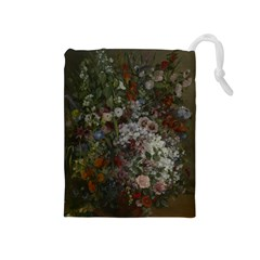 Courbet Bouquet Of Flowers In Vase Drawstring Pouch (Medium)