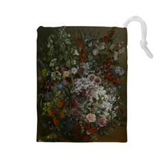 Courbet Bouquet Of Flowers In Vase Drawstring Pouch (Large)