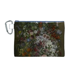 Courbet Bouquet Of Flowers In Vase Canvas Cosmetic Bag (Medium)