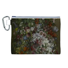 Courbet Bouquet Of Flowers In Vase Canvas Cosmetic Bag (Large)