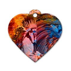 Astral Dreamtime Dog Tag Heart (two Sided)